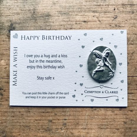 Pewter Pocket Charm silver card with a fairy charm and a happy birthday wish