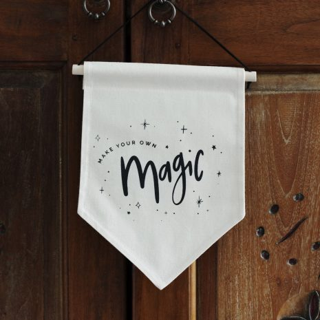 Darwin & Gray Classic Banner cream banner with the words make your own magic