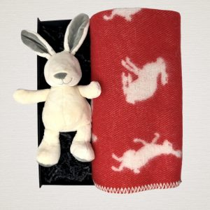 red bunny blanket with white bunny